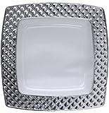 Decorline-Stoviglie plastica quadrati Deluxe- per feste decorate-Party -Piatti di plastica usa e getta- color Transparente con bordo in argento- Diamond Collection (Piatti 16x 16 cm)
