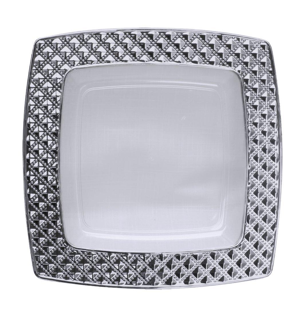 Decorline -Stabile quadratischen Luxe Kunststoff Einwegteller Plastik Teller -Einweg Geschirr - Transparent mit Silberrand -Diamond Collection.(Teller 16x16 cm) Decor Decorline