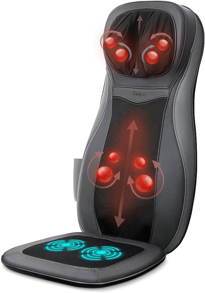 Naipo Massage du Dos Coussin Siège de Massage Fauteuil Massant Shiatsu en 3D avec Fonction Chauffante pour Entier Cou Nuque Dos