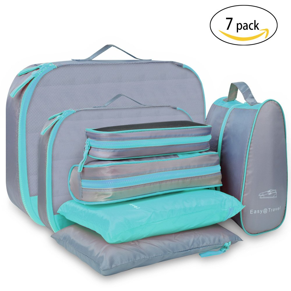 Travel Packing Cubes Luggage Organizer – Luxsure 7 pcs Waterproof Bags (Green)