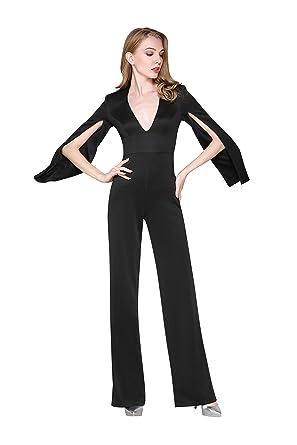 6cef2b6273d ChengDeYou Women s Open Sleeve Deep V Neck Jumpsuit Suit Long Pants for  Date