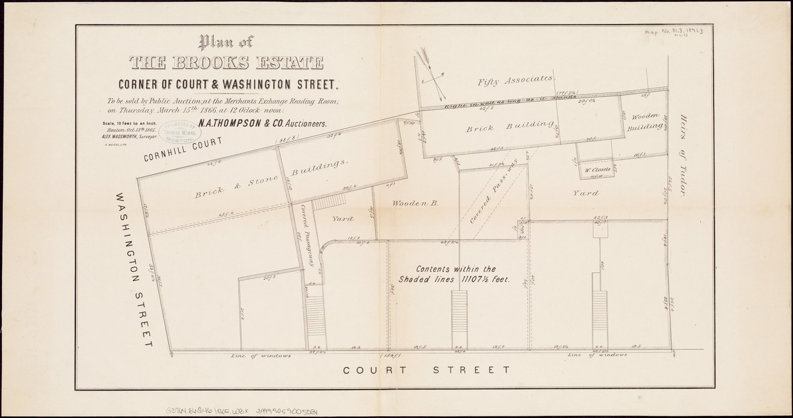 Historic Map | Plan of the Brooks estate corner of Court & Washington Street : to be sold at public auction, at the Merchants Exchange Reading Room, 1866 | Antique Vintage Reproduction
