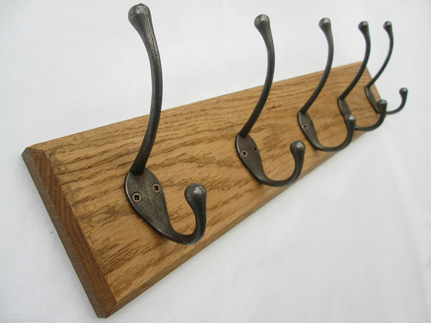 Ironmongery World Solid Oak Wooden Cast Iron Antique Hat and Coat Hooks Pegs