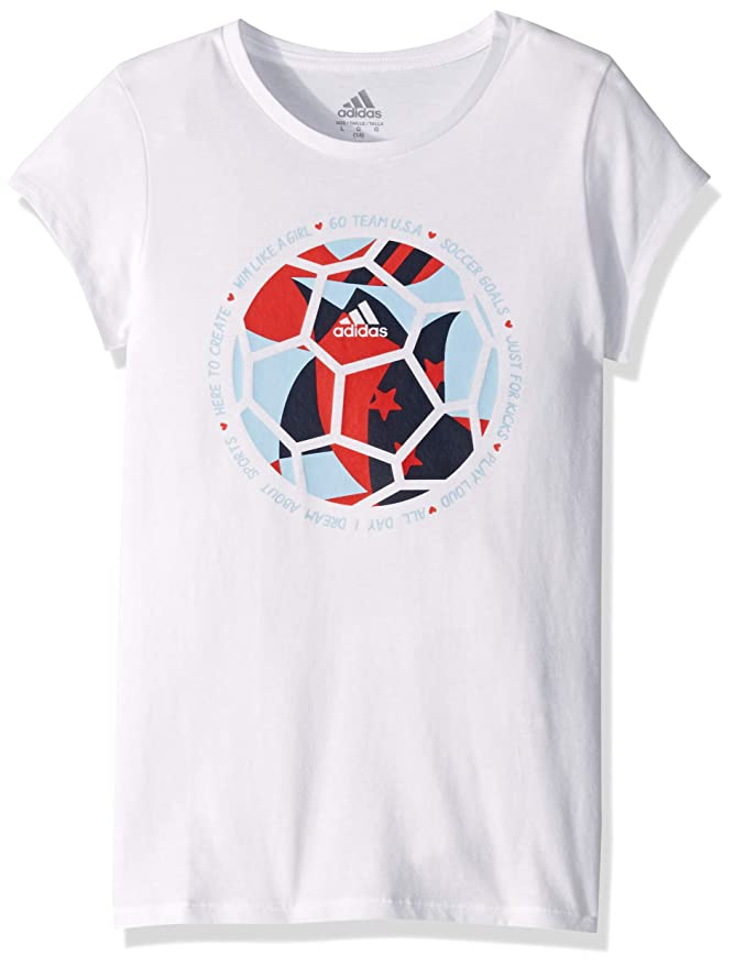 adidas Girl Big Short Sleeve Graphic Tee T-Shirt, Vented White/red, L (12/14)