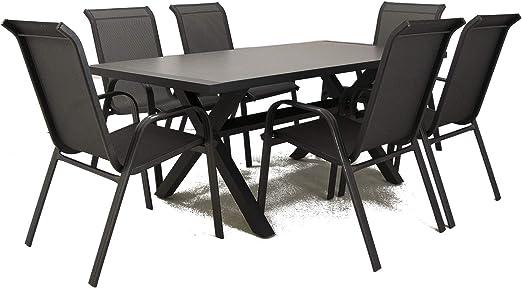 Conjunto Mesa y sillas de jardín, Aluminio Reforzado Color Antracita, Mesa 180 cm + 6 sillones, Patas en Forma de X: Amazon.es: Jardín