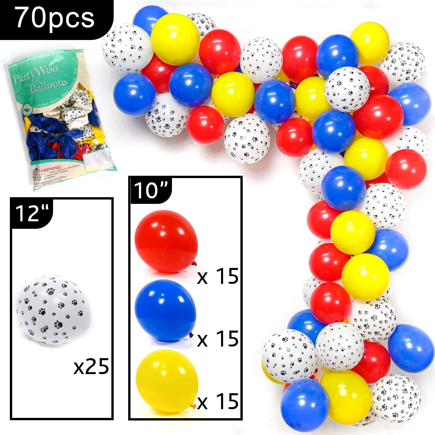 PartyWoo Paw Patrol Balloons Paw Balloons for Paw Patrol Party Decorations 70 pcs 12 inch Blue Red Yellow balloons Paw Print Balloons Toy Story Party Decorations Dog Birthday Paw Patrol Birthday