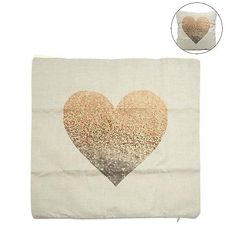 Amazon.com: Uxcell cuadrados patrón Loving corazón de lino ...