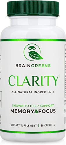 BrainGreens Brain Supplement for Memory and Focus – Nootropic Booster for Mental Clarity – All Natural Ingredients – Gingko Biloba, Bacopa Monnieri, Lion s Mane, Ashwagandha, Rhodiola Rosea,L-theanine