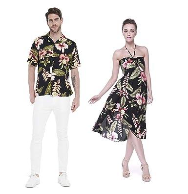 ce45c48ebf5a Couple Matching Hawaiian Luau Party Outfit Set Shirt Dress in Black  Rafelsia Men 2XL Women S