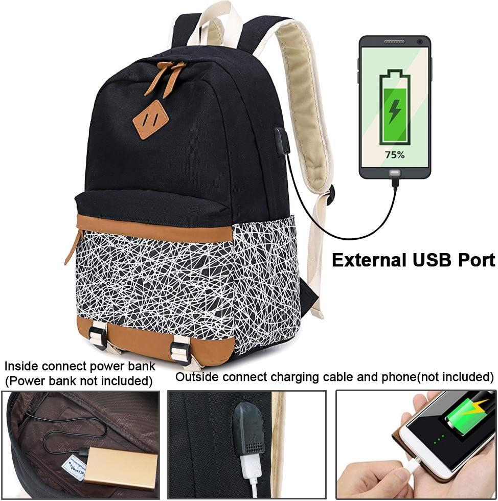 Mochila Escolares Mujer Mochila de Lona Casual Backpack Laptop Mochila para Ordenador Port/átil 15.6 Pulgadas Verde-3 USB Charging Port