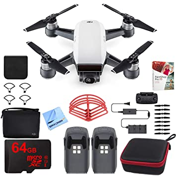 ophalen verenigd koninkrijk gloednieuw DJI Spark Fly More Drone Combo (Alpine White) with Custom Hard Case, 64GB  High Speed Card, Corel PaintShop Pro X9, High Visibility Pro Guards, ...