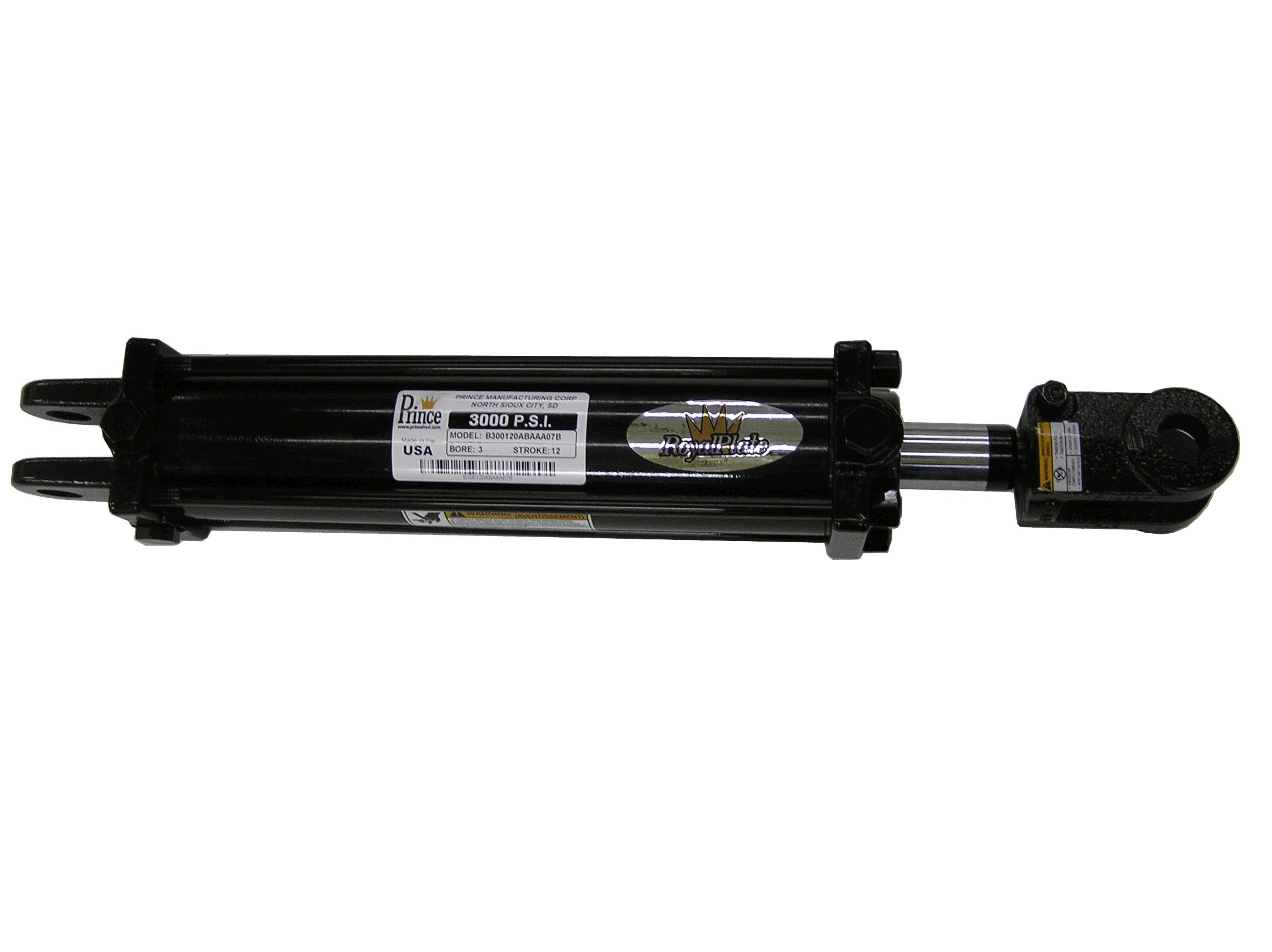 Prince B200240ABAAA07B Double-Acting Tie-Rod Hydraulic Cylinder, Clevis Mounting, Painted, 2'' Bore, 24'' Stroke, 1-1/8'' Rod Diameter, 3/4''-16 Thread, #8 SAE Port