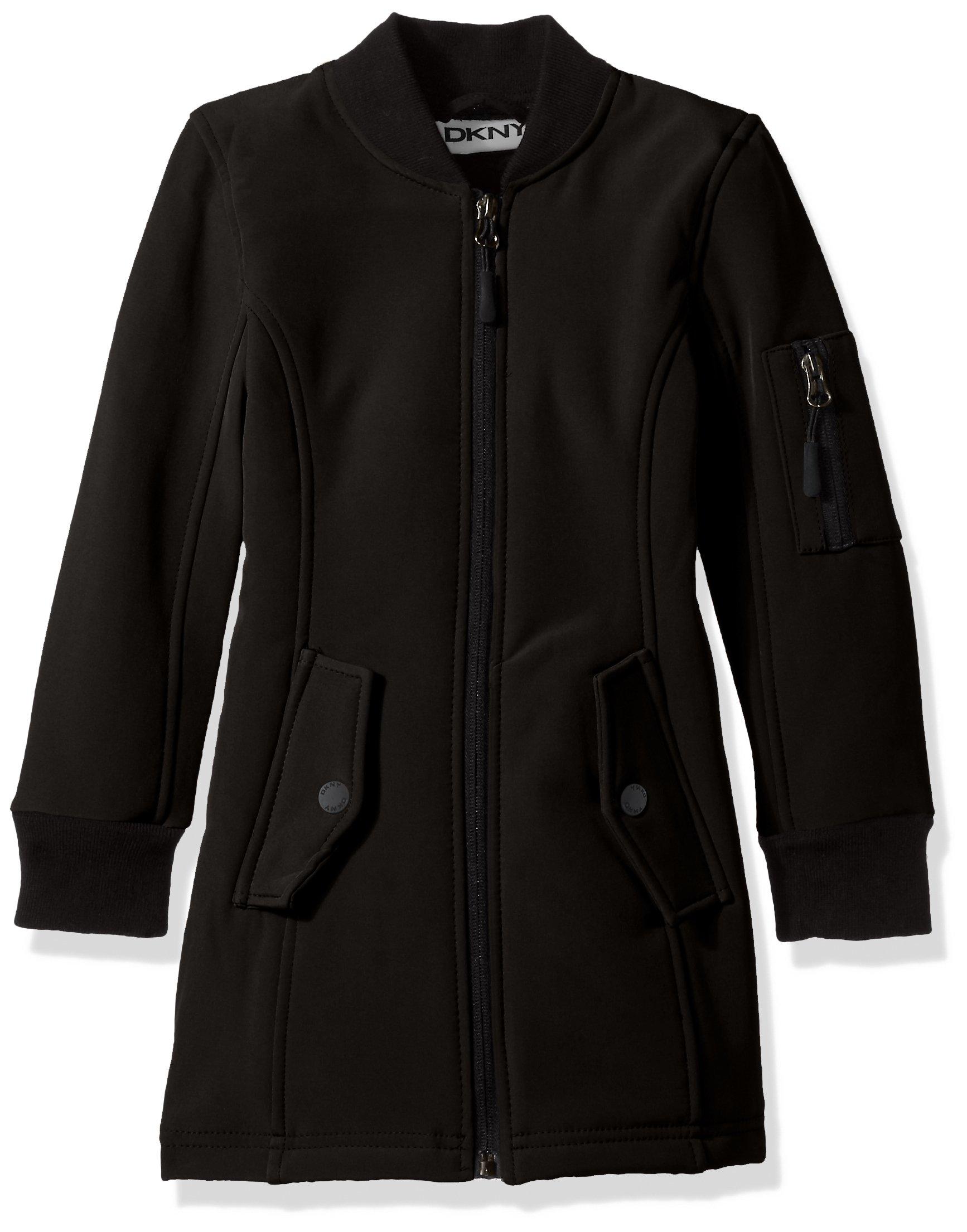 DKNY Little Girls' Long Outerwear Jacket (More Styles Avaialble), Softshell Bomber-DK54-Black, 5/6