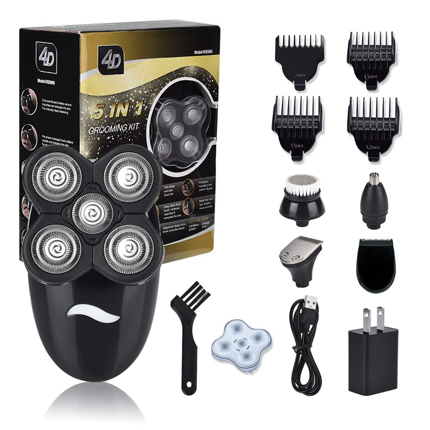 Men's 5 In 1 Electric Shaver & Grooming Kit, Cordless Waterproof Electric Razor