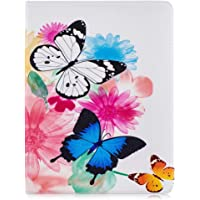 Mixpring iPad Pro 2018 12.9 inch Case, Wallet PU Leather Folio Flip Cover Cases with Card Slots Cute Pattern Stickers Magnetic Closure for Apple iPad Pro 12.9 inch 2018 Blue and White Butterfly