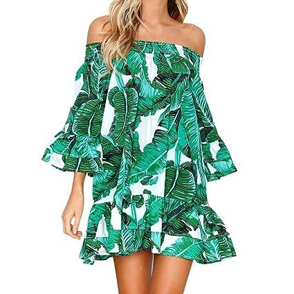 5c97885a36f Women Summer Off Shoulder Mini Dress Cuekondy Casual Sexy Leaves Printed  Half Sleeve