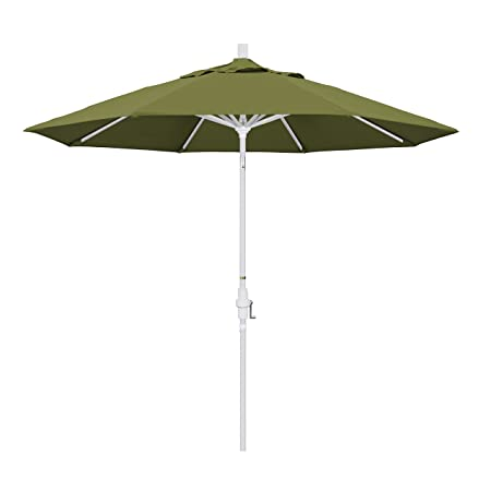 California Umbrella 9 Round Aluminum Market Umbrella, Crank Lift, Collar Tilt, White Pole, Pacifica Palm