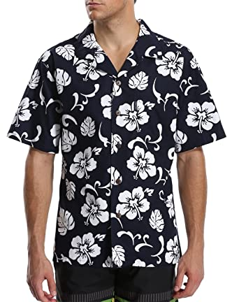 02e36792a exox Men's Hawaii Floral Pattern Short Sleeves Beach Shirt at Amazon ...