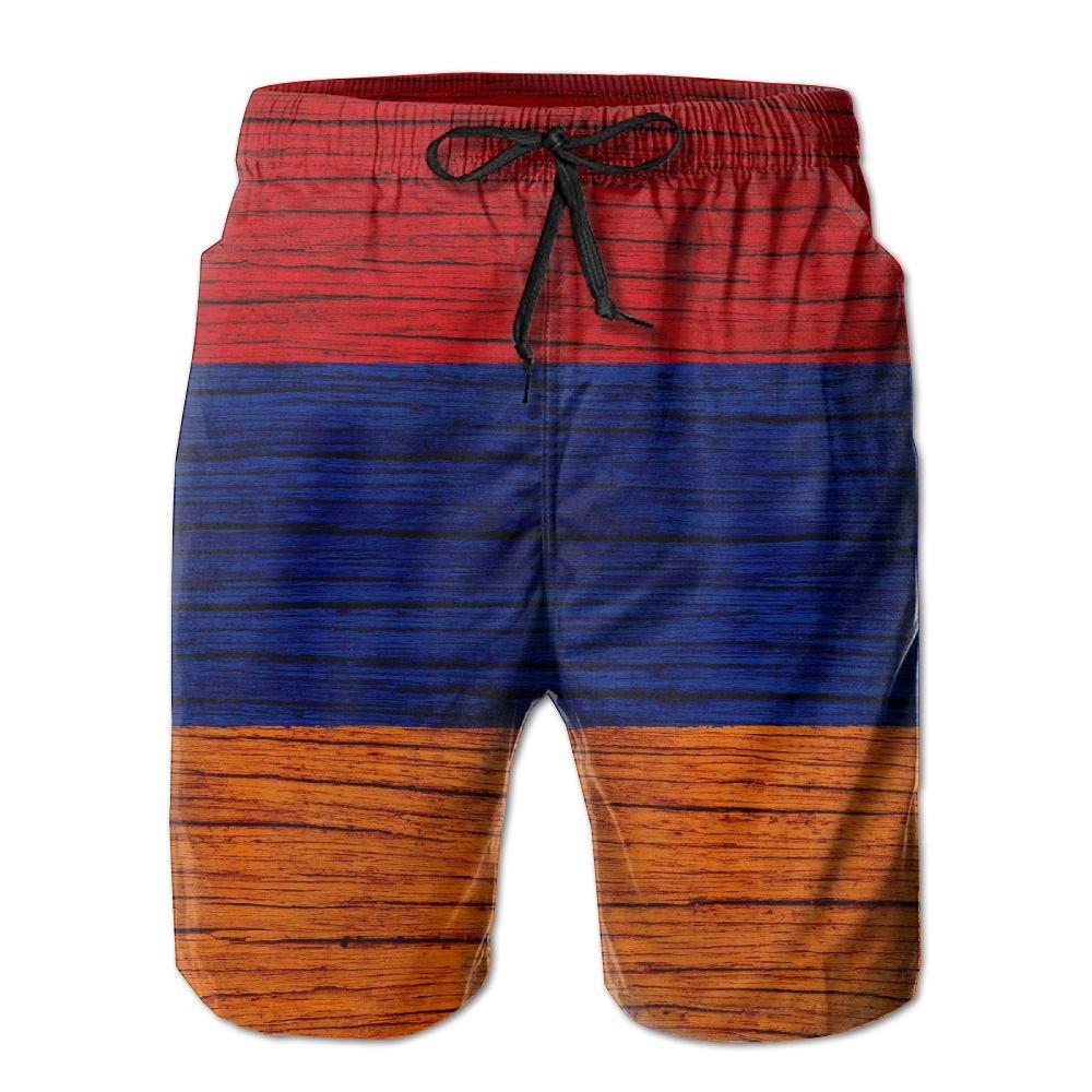 HFSST Wooden Texture Armenian Flag Men Kid Male Summer Swimming Pockets Trunks Beachwear Asual Shorts Pants Mesh