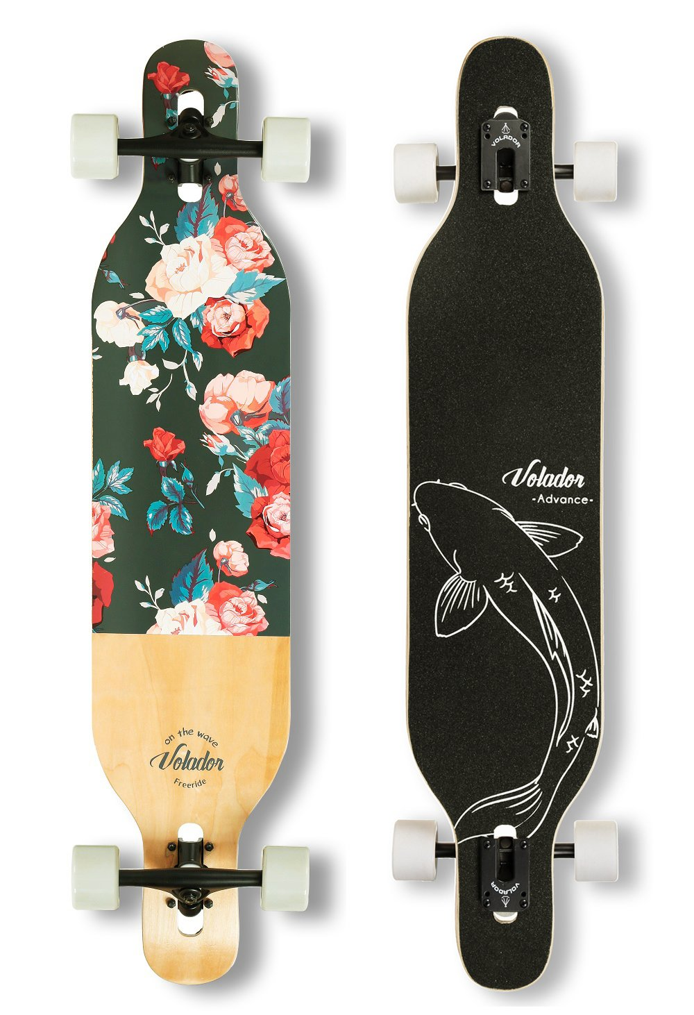 VOLADOR 42inch Freeride Longboard Complete Cruiser (Drop Through Deck - Camber concave)(Floral Vintage) by VOLADOR