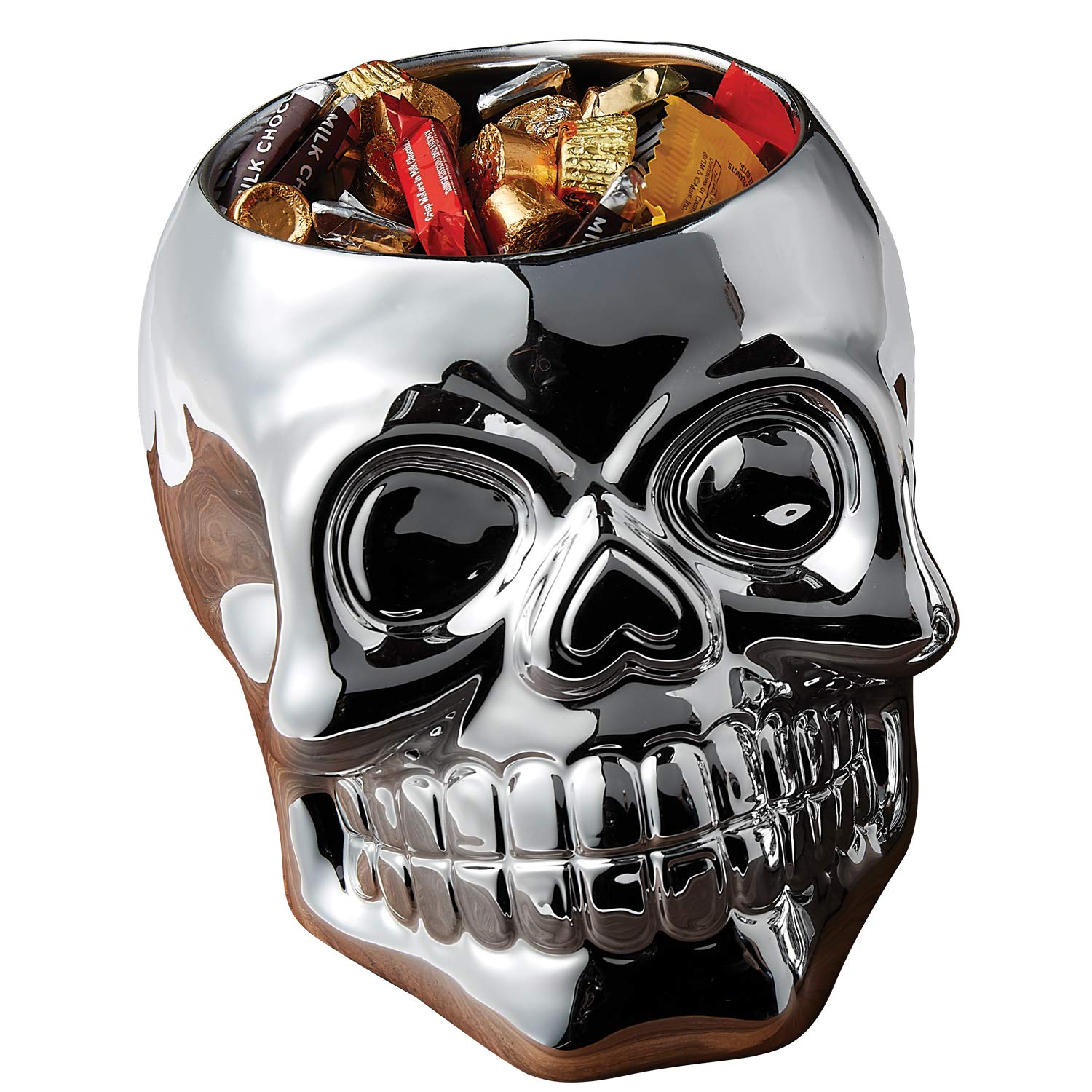 Silvertone Mirror Skull Shaped Large 6.5 x 7.5 Inch Earthenware Candy Bowl