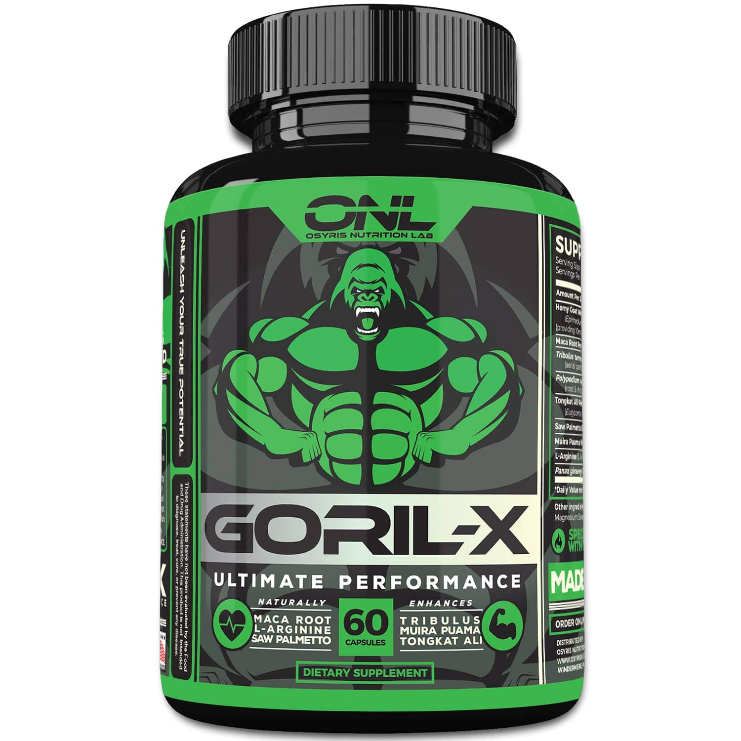 GORIL-X | Men's Performance Pills (60 Capsules) #1 Formula | All Natural Enlargement Booster | Increase Size, Strength, Energy & Endurance | 1000mg Enhancing Horny Goat Weed | 1 Month Supply