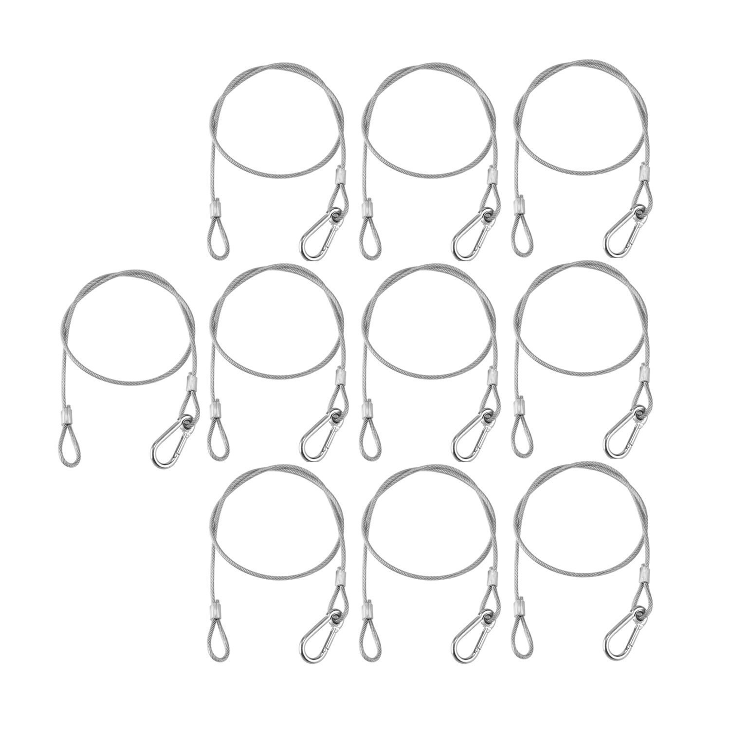 Max 110 Pound Bayyee 25.5 Stainless Steel Safety Security Cable for Dj Stage Lighting Par Light Moving Head Light Silver 10 Pack