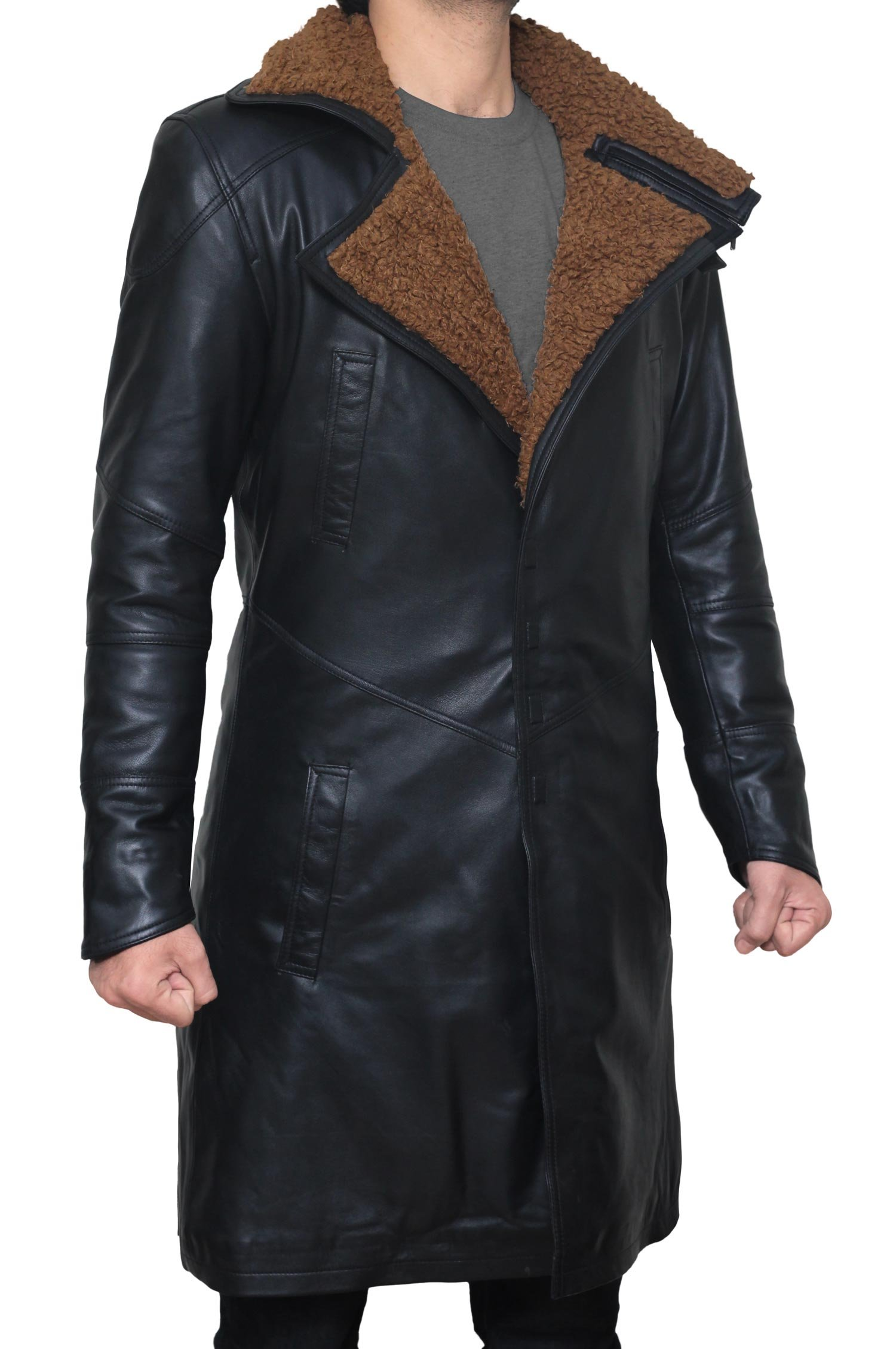 BlingSoul Blade Fur Coat Men Costume - Boys Black Leather Coat (XL) [PU-BLRN-BL-XL] by BlingSoul (Image #2)