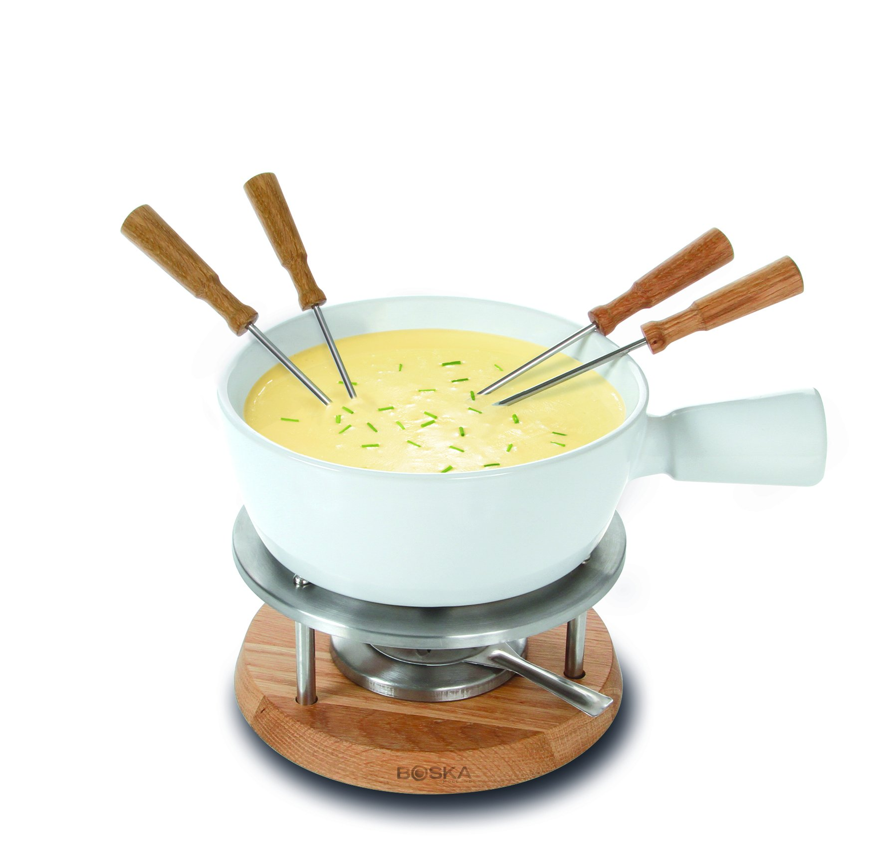 Boska Holland Cheese Fondue Set, 1 L White Porcelain Pot with Oak Wood Base, Life Collection
