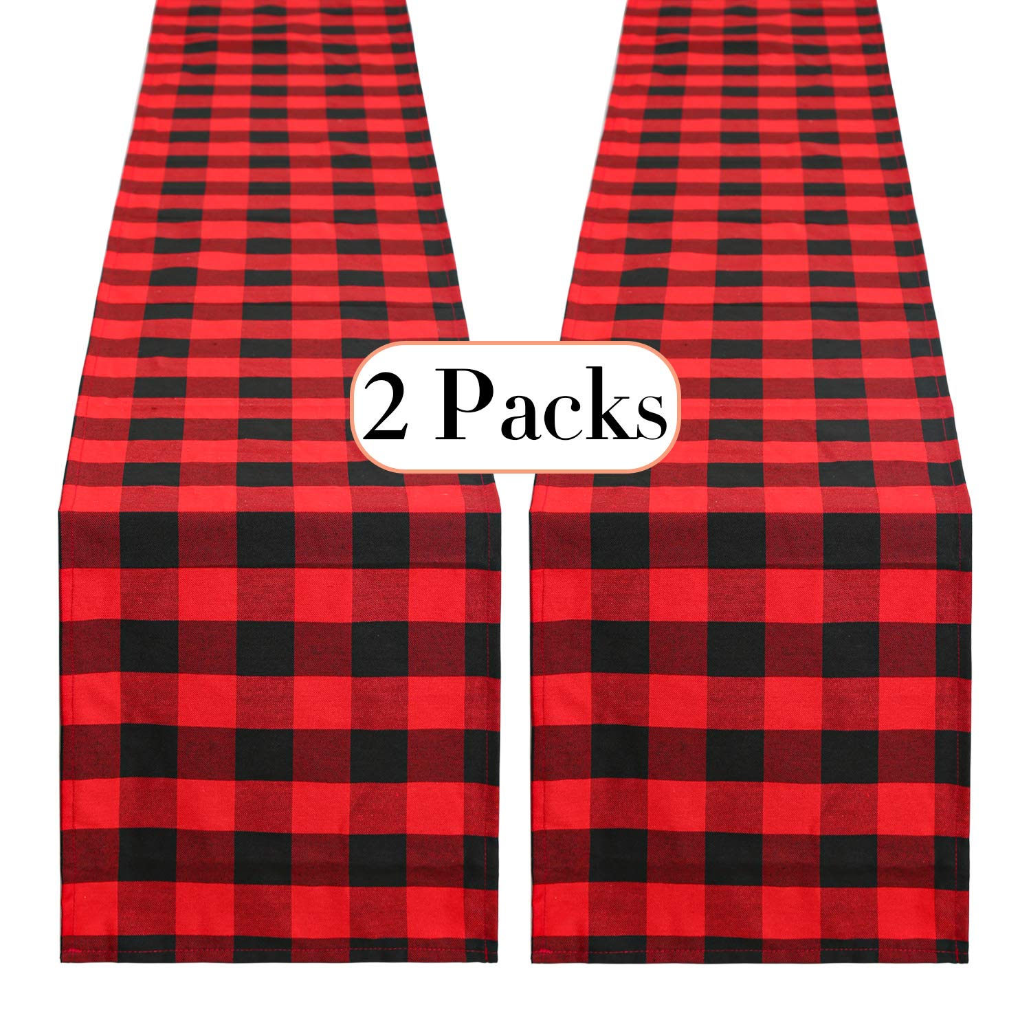 QueenDream Checkered Table Runner Red and Black Runner 2 Pack 12 x 84 Inches Plaid Table Runner Kitchen Decor Christmas Decor Home Decor