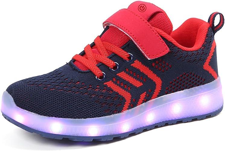 USB Charge Baskets LED Lumineuse pour Gar/çon et Fille Housking Chaussures de Sport Enfants
