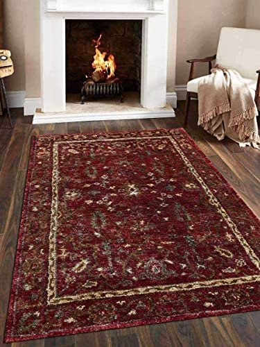 Rugsotic Carpets Hand Knotted Jute 8'x10' Eco-Friendly Area Rug Oriental Red J00011