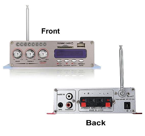 DollaTek 12V Hi-Fi Stereo amplificador de audio digital de DVD USB SD FM estéreo audio MP3 de radio del coche del altavoz de Bluetooth Amplificador HiFi ...