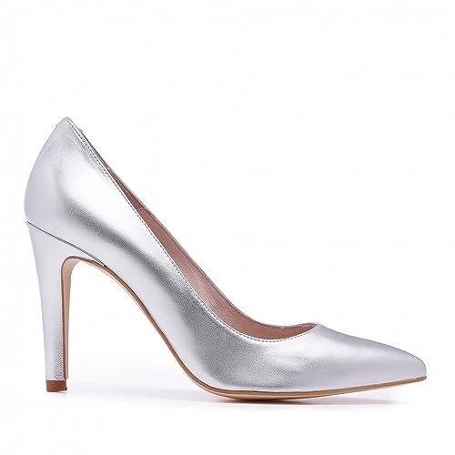 Tacón Con Complementos Castellanísimos Zapato Mujer Y Zapatos Piel Salón De Amazon Plata es w0wCYqp