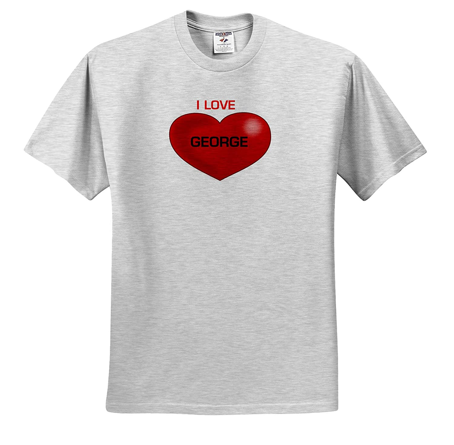 T-Shirts Love Hearts with Names Image of Big Red Heart with Love You George 3dRose Lens Art by Florene