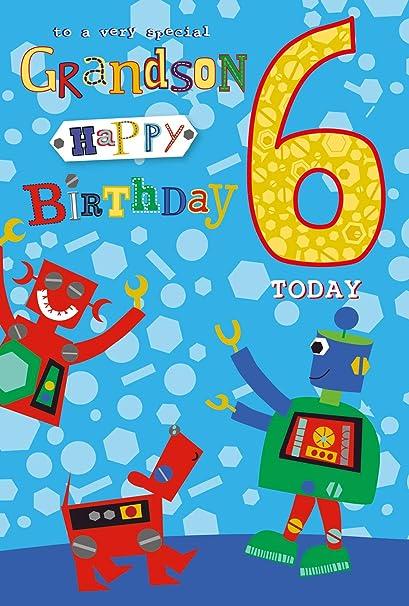 Tarjeta de felicitación de cumpleaños con diseño de robots y ...