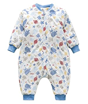 6c274189826ffd Jaimelavie Unisex Baby Winter Schlafsack mit Beinen 3.5 Tog Warm Kleine  Kinder Schlafsaecke aus Baumwolle, Pyjamas abnehmbar Langarm  (S/Koerpergroesse ...