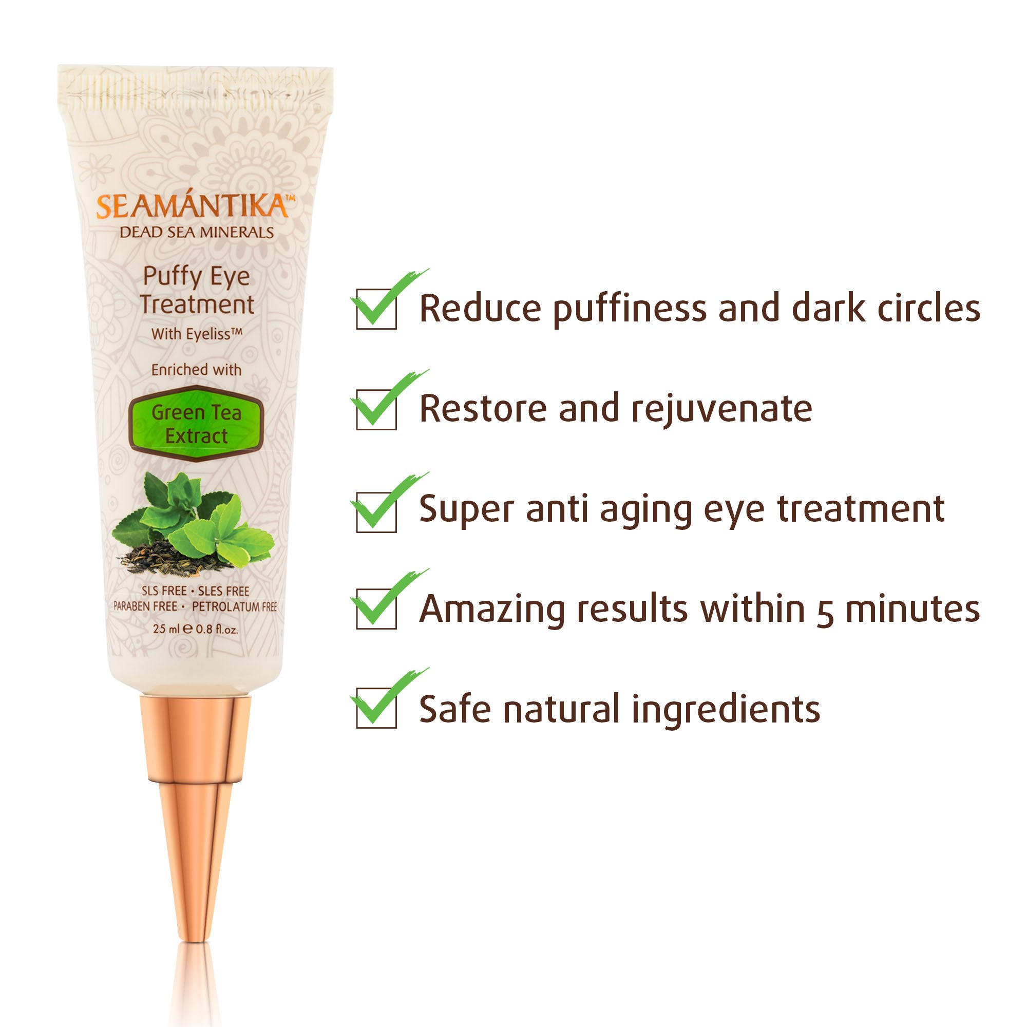 Puffy Eye Treatment Instant results – Naturally Eliminate Wrinkles, Puffiness, Dark Circle and Bags in Minutes – Hydrating Eye Cream w/Green Tea Extract, Dead Sea Minerals by SEAMANTIKA – .8 oz by SEAMANTIKA (Image #6)