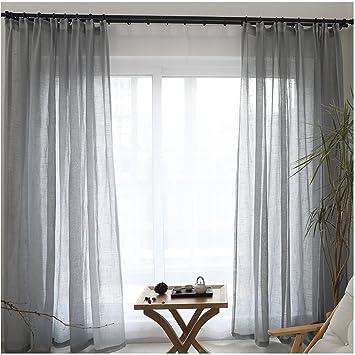 GroBartig Cystyle 1er Gardinen Vorhänge Transparent Leinen Optik Mit Kräuselband,  Vorhang Voile Fensterschal Dekoschal Für Wohnzimmer