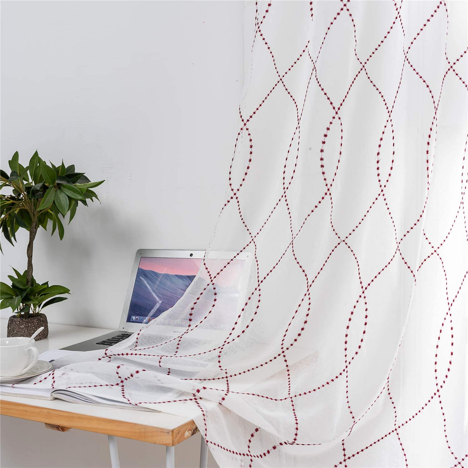 Elegant Cream Embroidered Voile Sheer Fabric Net Curtains Dress Draping Backdrop