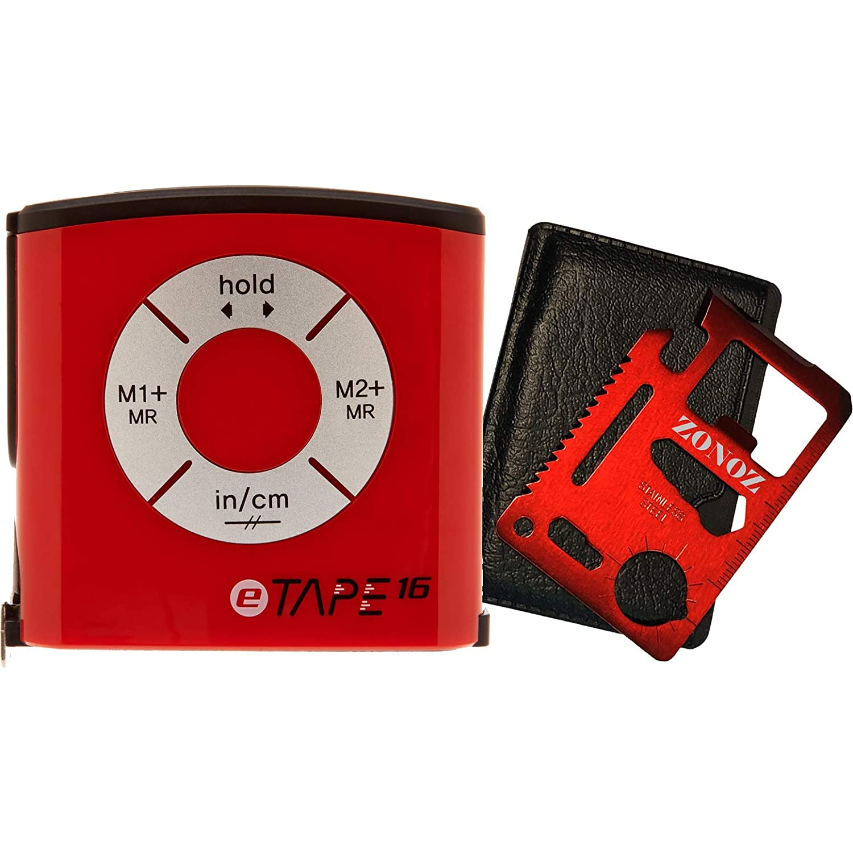 eTape16 ET16.75 DB RP Digital Tape Measure 16' Red Inch and Metric Zonoz 11 in 1 Multipurpose Mini Portable Wallet Size Pocket Multi Z Tool Bundle