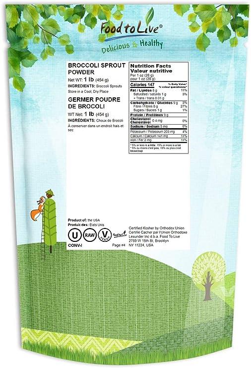 Polvo de brotes de brócoli, 1 Libra - Kosher, Vegano, a granel