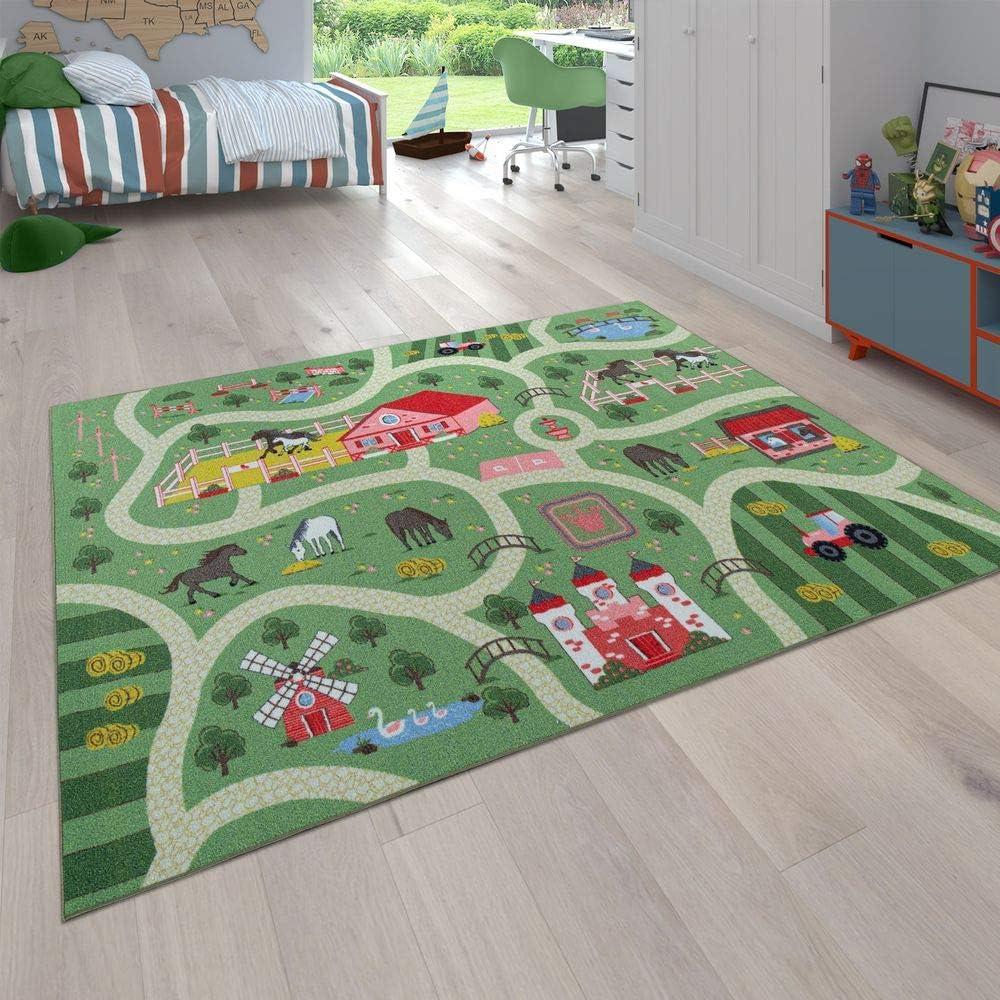Alfombra Infantil, Alfombra de Juego para Habitaciones Infantiles, Paisaje y Caballos, En Verde, tamaño:Ø 200 cm Cuadrado