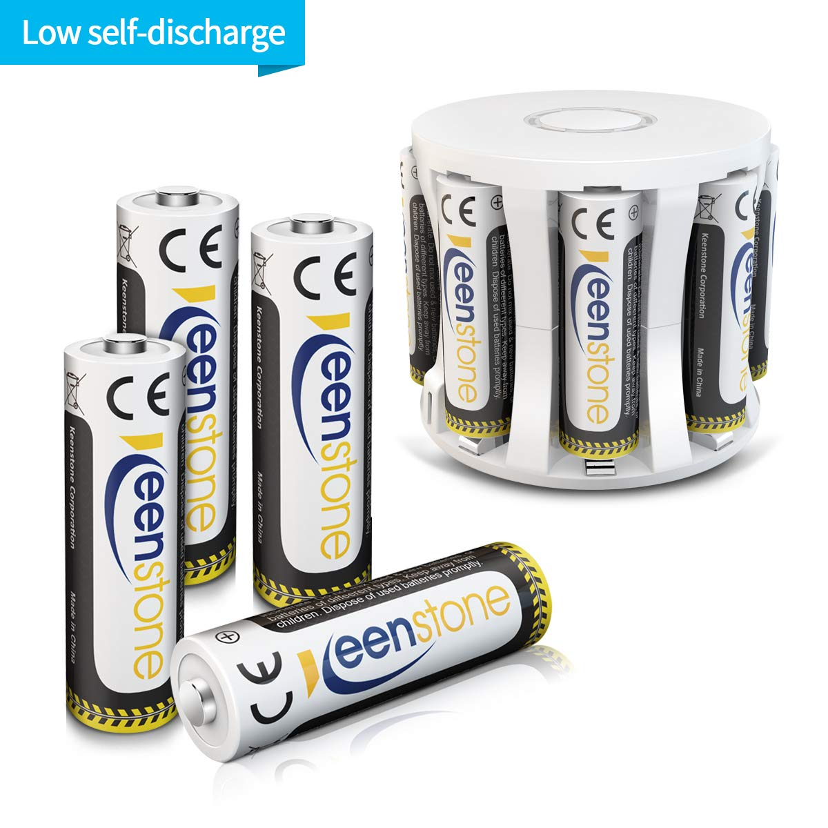 Keenstone Pilas Recargable AA, 8PCS baterías NIMH de 1.2V 2400mAh Se Carga con el Cargador a 8 ubicaciones, Ideal para Productos de cámara, Linterna y batería Diaria