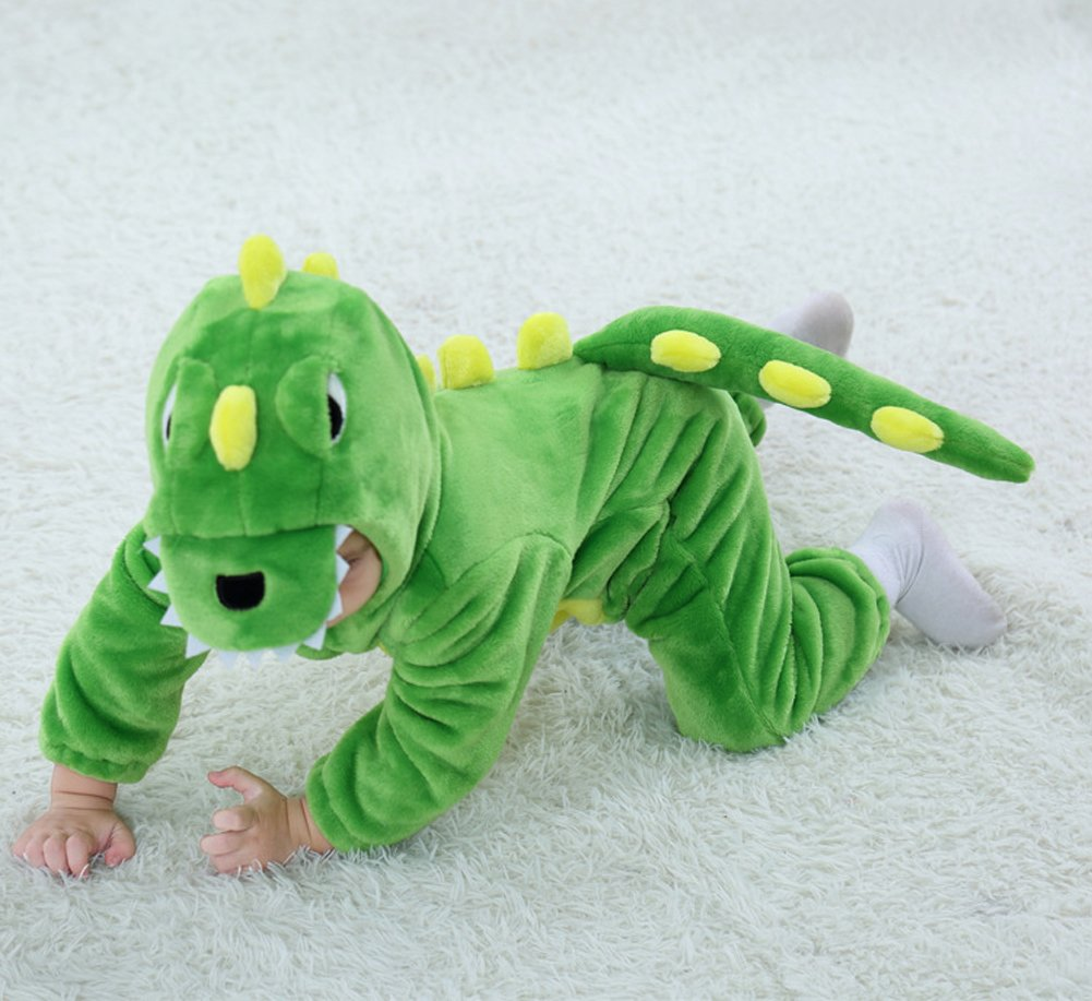 Tonwhar Toddler Infant Tiger Dinosaur Animal Fancy Dress Costume (100(Height:31''-35''/Ages 18-24 Months), Green) by Tonwhar (Image #4)