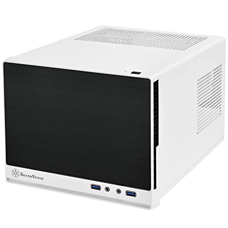 SilverStone Technology Ultra Compact Mini-ITX Computer Case with Solid Faux Aluminum Front Panel in White and Black SG13WB-Q