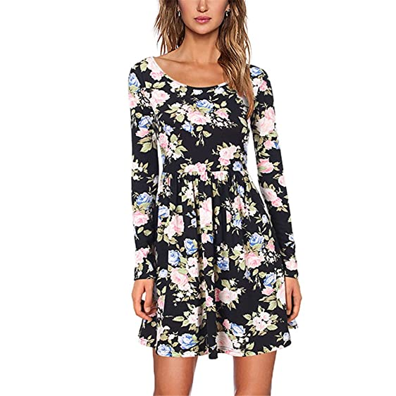 ClothinTalks Women Vintage Print Floral Elegant Tunic Vestidos Knit Dresses
