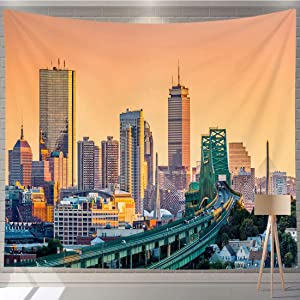 Vikes Sunset Tapestry,Tobin Bridge,Zakim Bridge and Skyline Panorama at,Tapestry Wall Hanging Art for Living Room Bedroom Home Decor,90Wx80L in