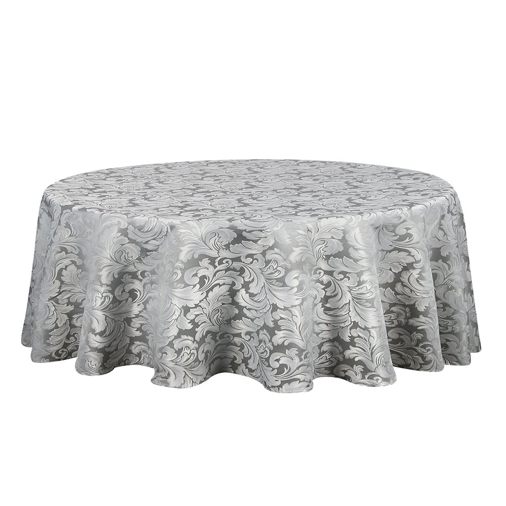 ColorBird Scroll Damask Jacquard Tablecloth Spillproof Waterproof Fabric Table Cover for Kitchen Dinning Tabletop Linen Decor (Round, 70 Inch, Silver Gray)