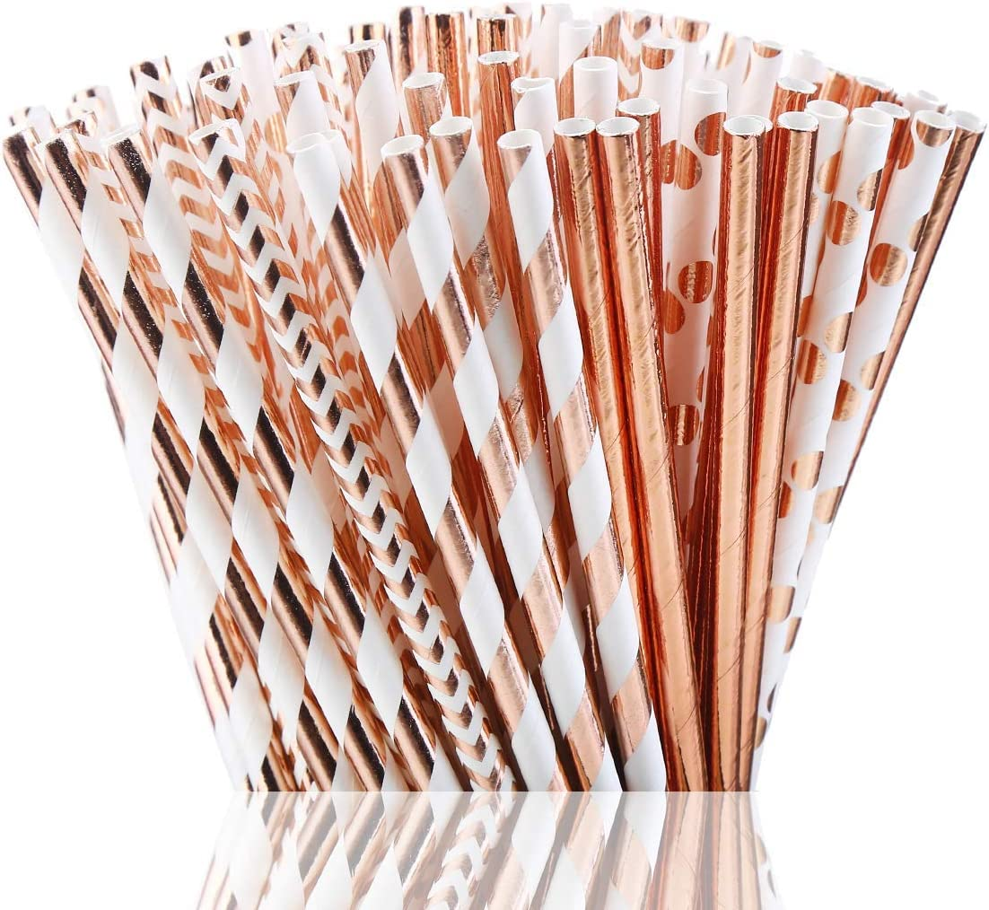 HMILYDYK - Pajitas de papel biodegradables, 100 unidades, color ...